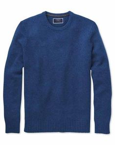 Buy our Blue crew neck Donegal merino sweater exclusively from Charles Tyrwhitt of Jermyn Street, London. Grey Suit Shoes, Black Suits, Sweater Shop, Men Sweater, Costume Bleu Marine, Pull Grosse Maille, Tweed, Derby, Costume Gris