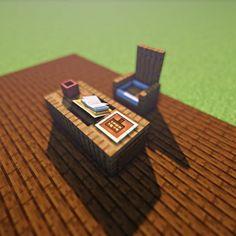Credi Desk Siga M … - Minecraft World 2020 Minecraft Kitchen Ideas, Easy Minecraft Houses, Minecraft Castle, Minecraft Room, Minecraft Decorations, Amazing Minecraft, Minecraft Games, Minecraft Blueprints, Minecraft Crafts