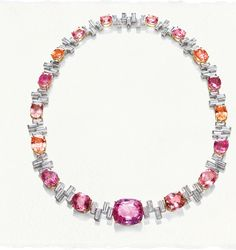 Sunset by Harry Winston. Padparadscha and Diamond Necklace: 17 oval and cushion-cut padparadscha sapphires, total carats High Jewelry, Jewelry Box, Jewelry Necklaces, Bullet Jewelry, Geek Jewelry, Gothic Jewelry, Sapphire Jewelry, Diamond Jewelry, Diamond Necklaces