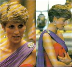 "This diamond flower brooch was left for Diana after her friend Adrian Ward-Jackson died. She wears it with the ""Thailand gown"" at a reception at Buckingham Palace in July 1991."