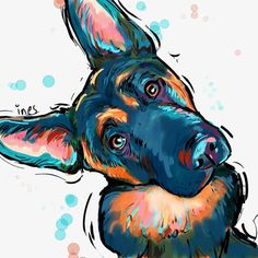 Wicked Training Your German Shepherd Dog Ideas. Mind Blowing Training Your German Shepherd Dog Ideas. German Shepherd Painting, German Shepherd Tattoo, German Shepherd Puppies, German Shepherds, Dog Paintings, Scottish Terrier, Dog Art, Pet Portraits, Dog Breeds