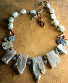 Blue Opal Necklace Amazonite Apatite Chalcedony by ChrysalisToo, $120.00