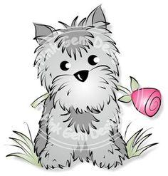 Digital Digi Little Gem with Rose Stamp Cute por PinkGemDesigns