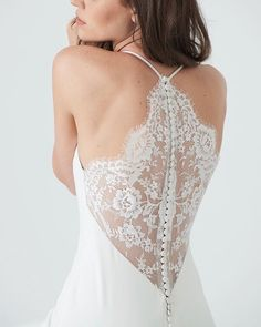 Lace back halter neckline wedding dress | ARIA by Kelly Faetanini