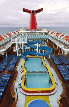 Carnival Elation cruise from Jacksonville. Pool and water slide on the top deck.