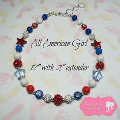 All American Girl Non Chunky Beaded Necklace, Photo Prop, Girly, July 4th