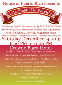 Saturday, December 2019 Crowne Plaza, San Diego This year we are please to bring the Manny Cepeda Orchestra as this year's headline Latin music entertainment and old-school Salsa and current sounds by DJ Rick 'La Voz' Chriss. Pasteles Puerto Rico Recipe, Latin Music, Puerto Ricans, Orchestra, Old School, San Diego, Salsa, Dj, December