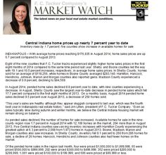 Market Watch is in and home prices are still up! Available homes for sale are also up! Check it out!