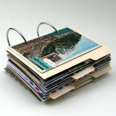 ring-bound travel journal, using vintage ephemera, file folders, etc. #scrapbooking #mini-album