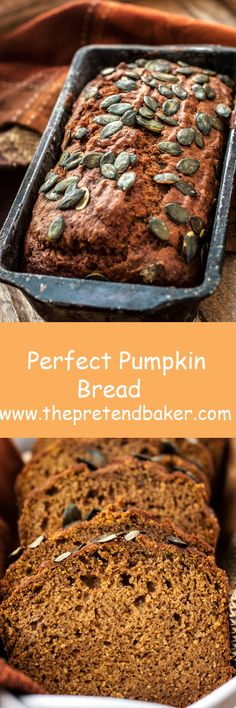Recipe for my absolute favorite pumpkin bread! Perfectly spiced and full of pumpkin flavor!