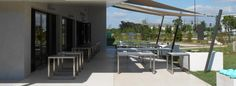 Terrasse restaurant béton ciré
