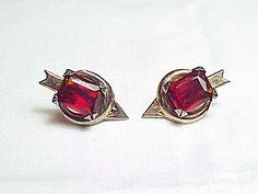 Vintage Sterling Silver Red Rhinestone Arrow Screw Back Earrings