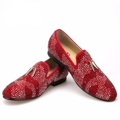 a06e5ad47a7ca Crystal Men Loafers Shoes with Gold Shark Tooth Tassel - FanFreakz Red  Loafers, Loafers Men