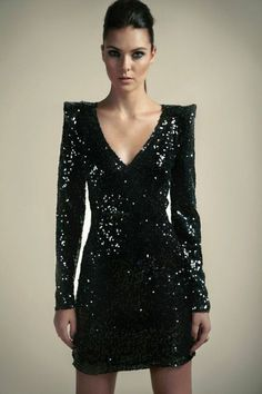 Boutique Nina Shiny Sequin Wrap Front Dress - Has sequin and sexy and use of dark color by The Style Genome Project Outfit Vestido Negro, Pretty Dresses, Beautiful Dresses, Dress Skirt, Dress Up, Nye Dress, Wrap Front Dress, Wrap Dress, Love Fashion