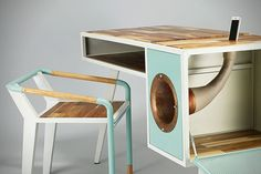 Great idea:The Soundbox Desk may be a bit unconventional, but it's also pretty awesome at the same time. Designed by the Seoul, Korea based industrial designer Jina U