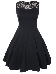 Black Sleeveless Lace Top A Line Flare Dress