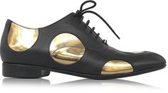 Marni Black Leather Oxford Shoe w/Gold Metallic Polka Dots