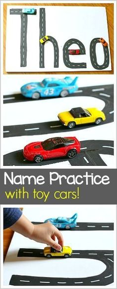 Name Practice Activity Using Toy Cars- Perfect alphabet or ABC activity for kids who love Hot Wheels! ~ http://BuggyandBuddy.com