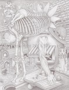 Dr. Applehead Mentality #2 #fineart #pencildrawing #surreal #fantasy #blackandwhite