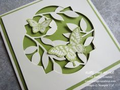 Stampin' Up! Papillon Potpourri butterflies in a window frame framelit - Stamp Your Art Out!