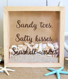 Simple Seashell Shadow Box Ideas - Coastal Decor Ideas and Interior Design Inspiration Images. Quote shadow box written on glass: Sandy Toes, Salty Kisses, Seashell Wishes. Seashell Shadow Boxes, Diy Shadow Box, Shadow Box Frames, Beach Shadow Boxes, Flower Shadow Box, Seashell Art, Seashell Crafts, Beach Crafts, Seashell Decorations