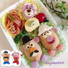Toy Story Mr and Ms Potato bento box    #food #bento #pixar