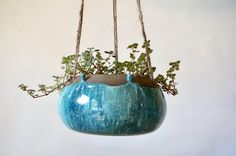 Blue Pod Air Hanging Planter  ~ Large ~ Succulent Planter~ Handmade in Studio ~ Ready to ship !!! by LittleGardenPottery on Etsy https://www.etsy.com/listing/559223512/blue-pod-air-hanging-planter-large