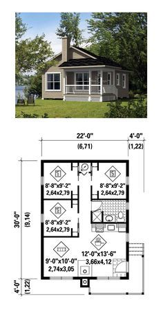 Tiny House Plan 52785 Total Living Area 660 sq ft 3 bedrooms and 1 bathroom Small Tiny House, Tiny House Living, Small House Plans, House Floor Plans, Micro House, The Plan, How To Plan, Plan Plan, Small Luxury Homes
