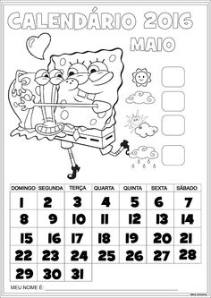 Calendário Maio 2016 com Numeração Bob Esponja e Gary