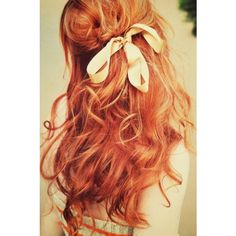 Hair Porn / #ginger #red #hair #bow #curls, found on polyvore.com