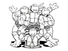 TMNT Coloring Pages Printable | Ninja Turtles Motive From The Very First  Tmnt Series From The