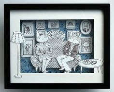 Shadow box paper cut - Tea time cats in blue- Luka Va vía Etsy. 3d Paper Art, Paper Crafts, Diy Crafts, Painting For Kids, Art For Kids, Self Portrait Kids, Chinese Paper Cutting, Paper Illustration, Paper Houses