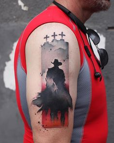 Incredible watercolor tattoo with horse on arm by @chenjie.newtattoo