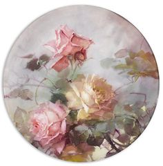 Franz Arthur Bischoff (American, 1864-1929) Tray with pink and yellow roses diameter: 13 1/2in Sold for US$ 3,750 inc. premium