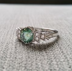 Antique Diamond Mint Moissanite Engagement Ring by PenelliBelle