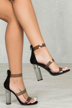 Mono Triple Strap Perspex Heel (Black)