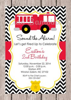 Firetruck Birthday Party Invitation / PRINTABLE by ciaobambino