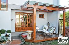 Pergola For Small Patio Info: 7021920569 Diy Pergola, Corner Pergola, Pergola Kits, Pergola Ideas, Pergola Attached To House, Pergola With Roof, Patio Roof, Outdoor Spaces, Outdoor Living