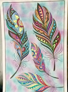 Feather Drawing, Feather Painting, Feather Art, Feather Tattoos, Dot Painting, Mandala Art, Mandala Design, Art Drawings, Zentangle Drawings