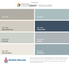 I found these colors with ColorSnap® Visualizer for iPhone by Sherwin-Williams: Pussywillow (SW 7643), Agreeable Gray (SW 7029), Sea Salt (SW 6204), Marshmallow (SW 7001), Rain (SW 6219), Indigo Batik (SW 7602), Jubilee (SW 6248), Meditative (SW 6227).
