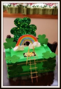 Our homemade Leprechaun Trap for this year. We've got the St.Patty's Lucky Charms on top of some tulle to lure him in and then he'll fall through of course trapping him inside! ;-)
