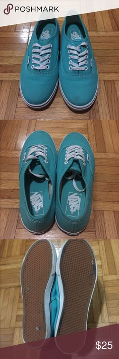 Teal Vans A bit worn as you can see in the pictures but still in great condition! Just needs a bit of cleaning. Vans Shoes Sneakers