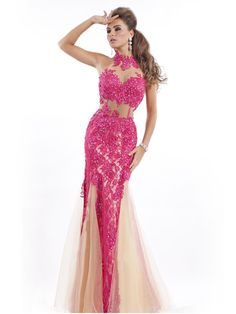 MZ0849 High Neck Sex Mermaid Champagne Tulle with Fushcia Appliques Prom Long Dresses 2014 New Arrivals $179.99