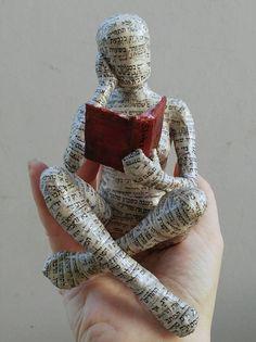 me ~ Reading woman papier mache sculpture collectible item ooak Paper Mache Clay, Paper Mache Sculpture, Paper Mache Crafts, Book Sculpture, Clay Art, Sculpture Projects, Paper Mache Projects, Sculpture Images, Clay Dolls