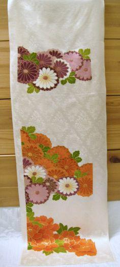 Vintage Japanese handpainted rinzu silk kimono fabric (from furisode) from CosimaOrimono on Etsy