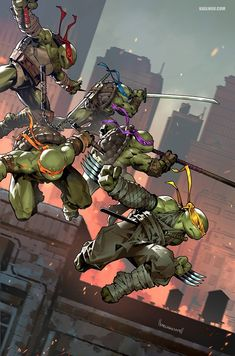 """Very excited to reveal my TMNT exclusive variant for Big Time Collectibles. Homage after TMNT - with a little more """"action"""" and of course a new member to the team;😁 Thank you BTC and IDW Publishing for the opportunity, so glad Teenage Mutant Ninja Turtles, Ninja Turtles Art, Arte Dc Comics, Bd Comics, Comic Books Art, Comic Art, Tmnt Wallpaper, Cuadros Star Wars, Arte Ninja"""