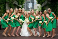 Dress your bridesmaids in the grassy shade and add golden touches for a nod to the pot of gold at the end of the rainbow!