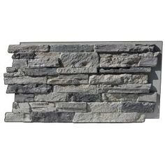 Superior Building Supplies Faux Mountain Ledge Stone in. Panel Cliff Gray - - The Home Depot Stone Siding Panels, Faux Stone Siding, Faux Stone Walls, Stone Veneer Panels, Faux Brick Panels, Brick Paneling, Faux Stone Veneer, Home Depot, Stacked Stone Panels