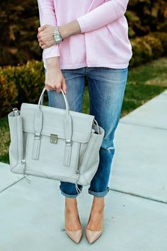 outfit details: Zara top  // Gap jeans  // Michele watch  // 3.1 Phillip Lim bag  // Prada pumps       Happy Monday eve...