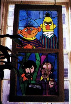 Bert & Ernie & Frank Oz & Jim Henson - Stained glass window that hung at Jim Henson Production's headquarters in New York City in the Mosaic Glass, Glass Art, Happy 75th Birthday, Sesame Street Muppets, Bert & Ernie, Fraggle Rock, The Muppet Show, Kermit The Frog, Jim Henson